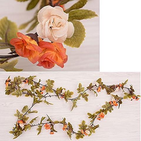 Plantes Fleurs Artificielles de Soie Guirlandes Suspendus Blanc-Rose Fleur de Vigne Décoration la Maison