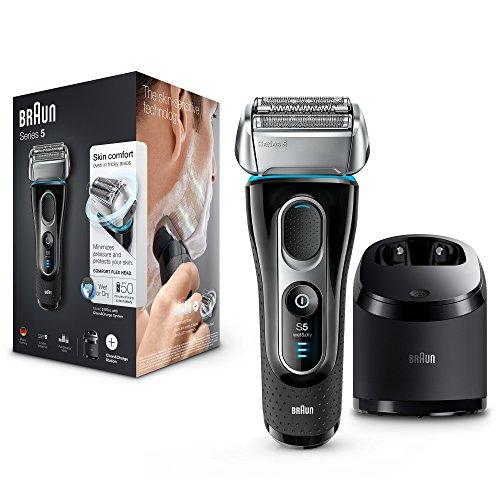 Braun Series 5 5197 cc - Afeitadora eléctrica hombre, para barba, en húmedo y seco, máquina de afeitar barba con recortadora de precisión, Clean&Charge, negro