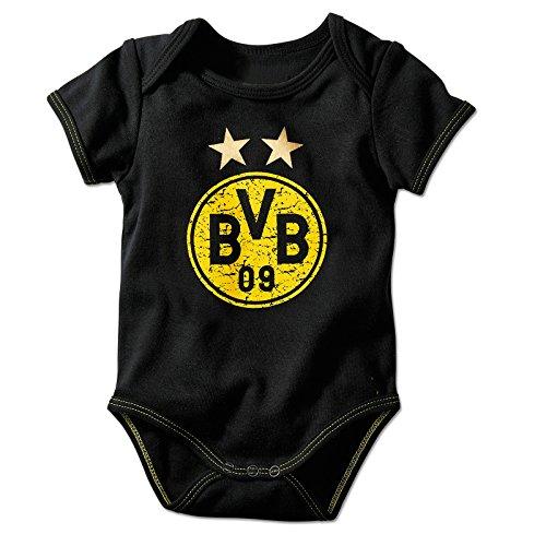 BVB - Babybody schwarz mit Logo gelb Gr. 74/80 Borussia Dortmund