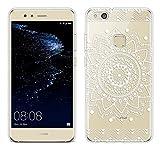 Coque Pour Huawei P10 Lite 5,2 pouces, Sunrive® Silicone Étui Housse Protecteur souple TPU Gel transparent Back Case(tpu Fleur blanc 1)+ STYLET OFFERTS