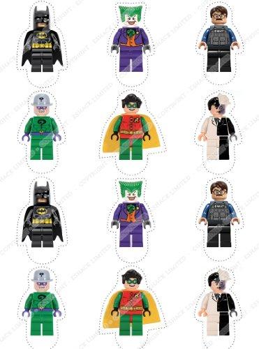 12 x Cakeshop decoración para pasteles comestibles PRECORTADAS de Lego Batman