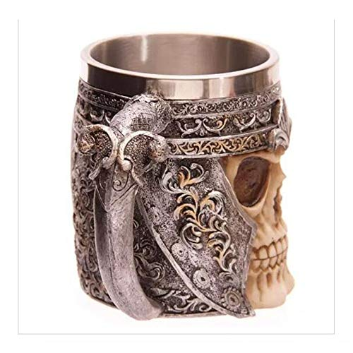 Pucidder Krieger Schädel Becher Halloween Dekoration Geschenk, Kreative 3D Edelstahl Skelett Kaffee Tee Trinken Cocktail Bier Tankard Tasse für Home Kitchen Bar Party Decor (Color : Style 01)