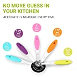 Zanmini Measuring Cups Spoons Set of 10 Stainless Steel 2 Rings Silicone Handle Engraved Measurements for Dry and Liquid Ingredients Dishwasher Safe Cooking Baking Kitchen