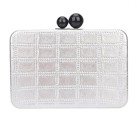 Bonjanvye PU Leather Cross Body Bag Square Grid Clutch Bags Silver