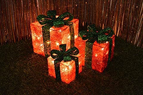 Set of 3 LED Battery Powered Light Up Glitter Sparkle Christmas Present Boxes (Red w/ Green Bow) by Cheaper Online Ltd