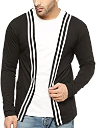 Gritstones Round Neck Full Sleeve MenS Shrug GSFSSHG1304BLKWHT_S