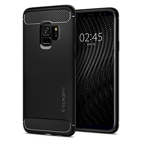 Spigen Rugged Armor Galaxy S9 Case with Flexible and Durable Shock Absorption with Carbon Fiber Design for Samsung Galaxy S9 (2018) – Matte Black