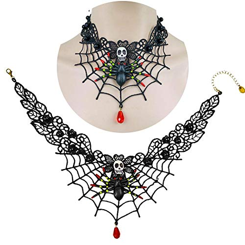 Ein Halloween Einer Von Art Kostüm - zaote Schwarzer spitze schädel gothic anhänger choker halskette spinnennetz kette stil schmuck für halloween kostüm party eco friendly