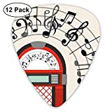 Guitar Picks 12-Pack,Cartoon Antique Old Vintage Radio Music Box Party With Notes Artwork