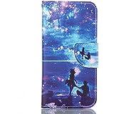 Rabat Style Portefeuille Samsung Galaxy A5 (2016) / A510 Coque Protection ( Bleu ) Anti Choc, Carte Titulaire PU Cuir Poids léger Case Cover, Les amants et le ciel étoilé Motif