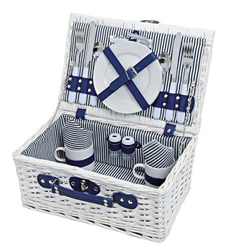Picknick-Korb Tragekorb Koffer aus Weide in blau weiß für 2 Personen - maritim 16 Teile Besteck Teller Tasse Service