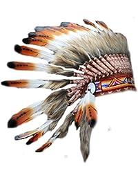 X05 Tres Colores Marrones Head Feather Headdress/Warbonnet Estilo Nativo Americano.