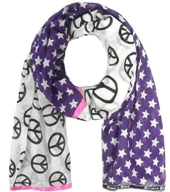 PLOMO o pLATA foulard patchwork motifs étoiles et peace and love de couleur violet et noir/blanc