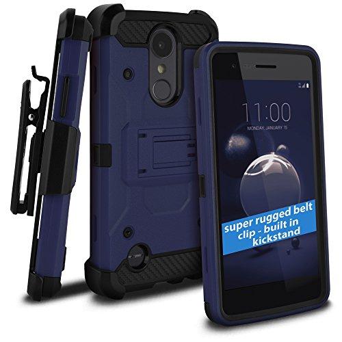 celljoy Fall Kompatibel mit LG Aristo 2, LG Tribute Dynasty, LG Zone 4(+ Mehr) [Tactical Carbon Hybrid] [Ultra Strong Klappetui] [Standfuß] Extreme Schutz Holster ((stoßfest)) Cover -, Dunkelblau T-mobile Carbon