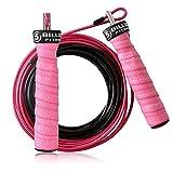 5BILLION Corda per Saltare - Cavo in Acciaio Regolabile Veloce con Cuscinetti a Sfera - Speed Rope Corda Salto Professionale per Fitness, Boxe, MMA, wod (Rosa)
