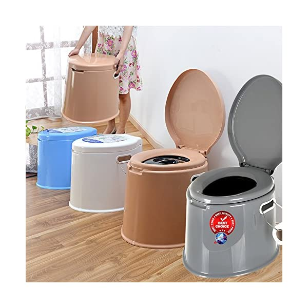 Denny International 【LIGHT WEIGHT】 Large 6L Compact Portable Toilet Potty Loo with Washable Basket and Toilet Roll Holder for Pool Party Camping Caravan Picnic & Festivals 1