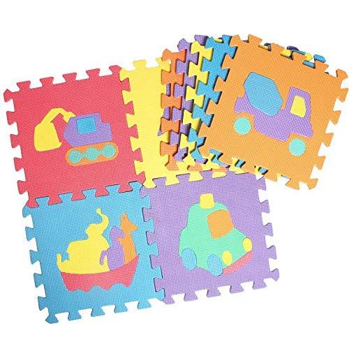 Lieja 10 Stück Puzzlematte für Babys und Kinder, Spielteppich Spielmatte Lernteppich Kinderspielteppich Schaumstoffmatte Matte bunt, Comic-Tiere mit Buchstaben, Maß je Matte ca.30cmx 30cmx0.8cm