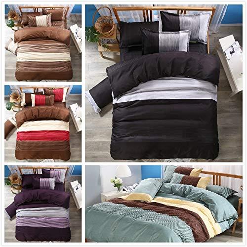 JSDJSUIT Bettwäsche gesetzt Kurze Streifendruck Bettbezug-Set 3tlg Bett Set Twin Doppel Queen-Size Bettwäsche Bettwäsche Bettwäsche-Sets-Twin-Set 4tlg (Queensize-betten Kurze)