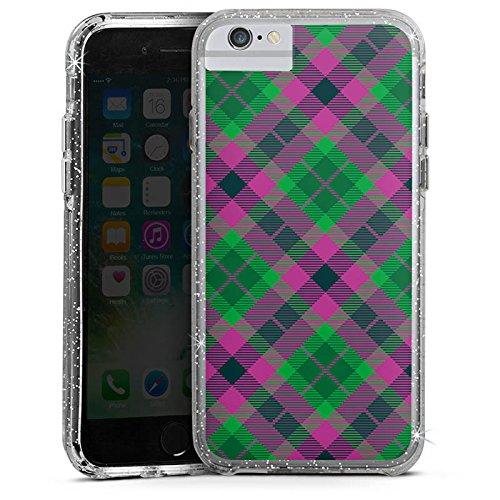 Apple iPhone 6 Plus Bumper Hülle Bumper Case Glitzer Hülle Karo Schotte Green Bumper Case Glitzer silber