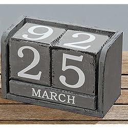 Kalender aus Würfel Dauerkalender Holz MDF Grau Used Look