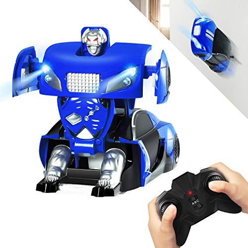 or Roboter Auto, Ferngesteuert Transformers Auto & Robot verwandelbar, RC Wand Climber Auto mit LED und 360° Rotation, Stunt Auto RC Spielzeugauto für Kinder Kindergeschenk Blau ()
