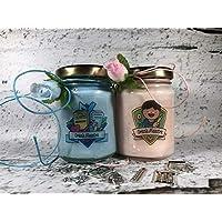 Grazie Maestra (nuovo tipo) 2 vasetti con candele di cera di soia e oli essenziali - Regalo per la Maestra Fine anno scolastico Ritorno a scuola Regalo di Natale