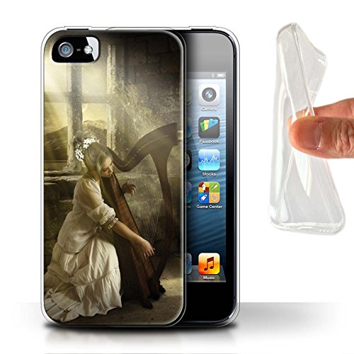 Officiel Elena Dudina Coque / Etui Gel TPU pour Apple iPhone SE / Beauté/Violon Design / Réconfort Musique Collection Harpe/Harpiste