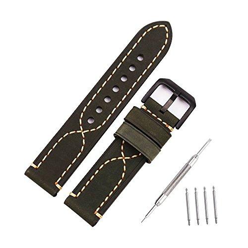 Correa de reloj bandas de reloj de repuesto de cuero genuino vintage para relojes deportivos al aire libre, relojes estilo militar, relojes estilo retro 20 mm verde