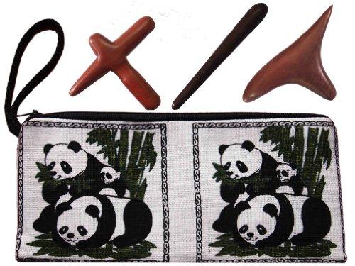 In einem Baumwollbeutel Massage Stab, Kreuz, Vogel, aus HARTHOLZ - NEU und ORIGINAL aus Thailand
