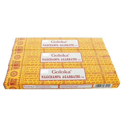 Goloka Nagchampa Agarbathi - Bündel mit 3 Packungen (Elegance 3 Stück)