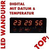 LED Uhr Led Wanduhr mit Datum und Temperatur Anzeige Digital, geeignet für Büro, Bar, Cafe uvm NEU! Noyan® (Rot)