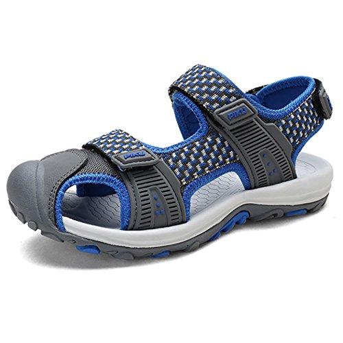 GESMEI Bambino Sandali Estivi Chiusi Velcro Trekking Sandali Sportivi Traspirante Outdoor Scarpe Spiaggia GrigioBlu 35 EU/Dimensione dell'Etichetta 36