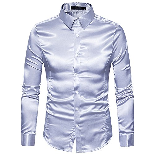 UJUNAOR Oktoberfest Männer Langarm T-Shirt Bling Shirt Top Slim Fit Mode Herren Bluse(Silber,CN M)