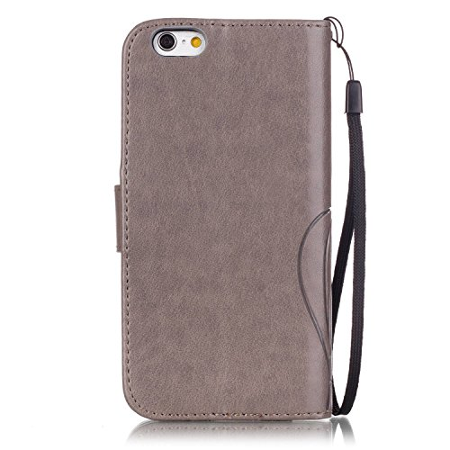 JAWSEU Coque Étui pour iPhone 7 en Cuir Portefeuille,iPhone 7 Etui Folio Pu,iPhone 7 Étui à Rabat Magnétique Housse Etui,2017 Neuf Bling Brillante Laser Désign Flip Pu Wallet Case Ultra Slim Leather F Gris/strass