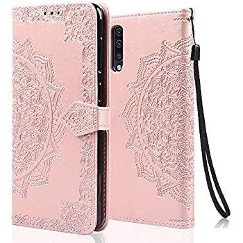 Uposao pour Samsung Galaxy A50 Glitter Coque,PU Premium Etui Housse en Cuir Portefeuille de Protection Coque a Rabat Magnetic Fermeture,Multi-Usage 9 Carte Slot,Support Stand Coque Galaxy A50,Violet