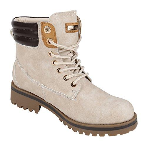 napoli-fashion Damen Herren Schuhe Kinder Schuhe Stiefeletten Worker Boots Outdoorschuhe Schnürstiefel VanHill Creme