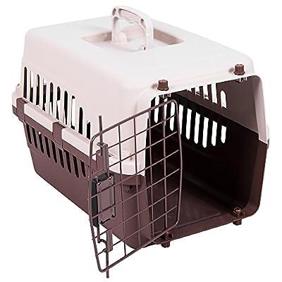 Home Pet Carrier, Animal Cage Cat Dog Transport Box Spring Lock Door