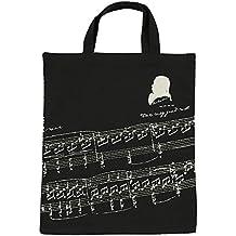 Bolsa de algodón Kingpoint con diseños musicales, clave de sol e instrumentos Musician and music clefs black