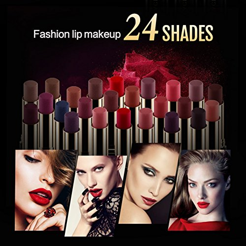Metallic Velvetines Liquid Matte Lipstick,ROMANTIC BEAR Lipstick Waterproof Long-lasting 24 Colors- Super Lustrous Lipstick