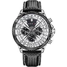 Ilove EU Hombre Reloj de pulsera Sport Reloj analógico de cuarzo piel Luxus elegante 30m Resistente al agua fecha luz LED Color Blanco Negro whlss014–4