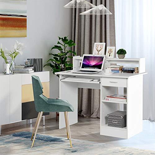 Yaheetech White Computer Desk with Drawers Storage Shelf ...