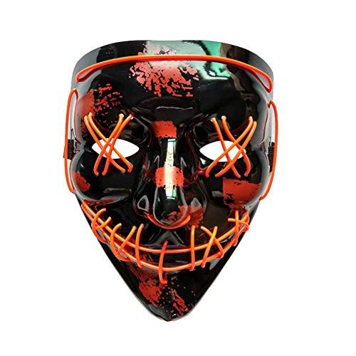 Red Cosplay Kostüm Skull - Futensil LED Halloween Maske Scary Mask Cosplay Kostüm Maske EL Wire Leuchten für Halloween Festival Party- Red