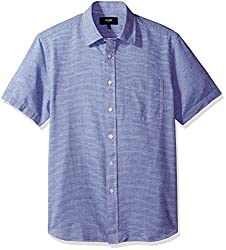 Jack Spade Mens Cliff Short Sleeve Horizontal Fine Stripe Point Collar Shirt, Blue, XX-Large