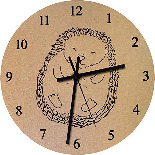 Azeeda 275mm 'Erizo Durmiente' Reloj de Pared Grande de MDF (CK00022201)