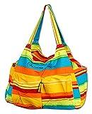 Vetrineinrete® Borsa mare da donna a spalla in tessuto con righe colorate 5 tasche con chiusura a zip base rinforzata per spiaggia campeggio piscina (Gialla) P8