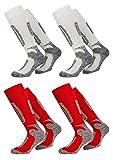 PistenSauser FussFreunde, 2 Paar warme Skisocken zum Preis von einem Paar (35-38, WHITE AND RED)