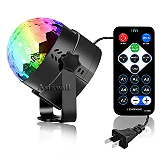 Asiawill Mini Portable 3-LED 7-Mode Strobe Stage Light with Remote Controller for Birthday DJ Bar Karaoke Xmas Wedding Show Club