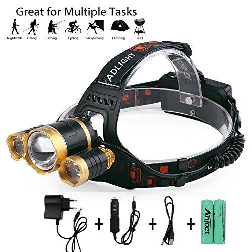 BLSTECH LED Super helle Stirnlampe, Wasserdichte LED Kopflampe, Verstellbare Scheinwerfer Taschenlampe für Laufen Gehen Camping Lesen Wandern Reiten Angeln