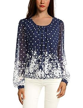 WAJAT - Camiseta Blusa para Mujer de Chifon