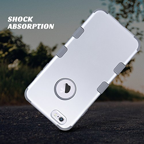 iPhone 6 Plus Hülle 5.5 Zoll, ULAK 3in1 Stoßfest Hybrid High Impact Hart PC und Weiche Silikon Schutzhülle Tasche Case Cover für Apple iPhone 6 Plus /iPhone 6s Plus 5.5 Zoll (Roségold Streifen) Silber